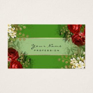 Cartão De Visitas Ouro verde VIP das rosas vermelhas florais do