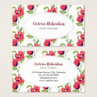 Cartão De Visitas Oval branco da arte floral vermelha feita sob