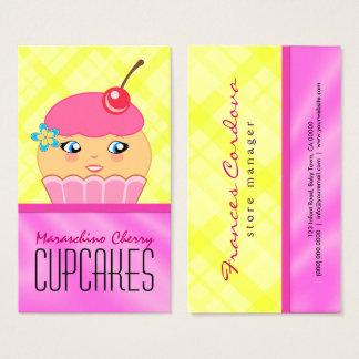 Cartão De Visitas Padaria cor-de-rosa e amarela do padeiro do