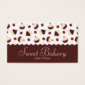 Cartão De Visitas Padaria do cupcake da cereja do chocolate