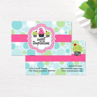 Cartão De Visitas Padaria louca do cupcake das bolinhas