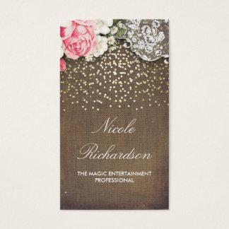 Cartão De Visitas País rústico dos confetes de serapilheira e de