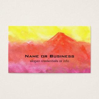 Cartão De Visitas Paisagem abstrata do vulcão da montanha da laranja