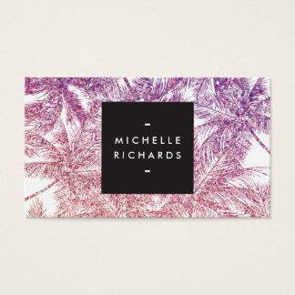 Cartão De Visitas Palmas tropicais roxas/do rosa brilho