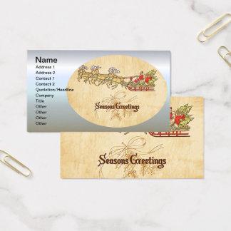 Cartão De Visitas Papai noel trenó e cumprimentos das estações da
