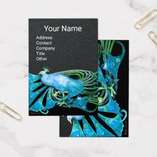 Cartão De Visitas Papel AZUL ELEGANTE do preto da JÓIA da FORMA do