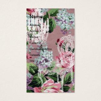 Cartão De Visitas Papel de parede floral do vintage com cadeira e