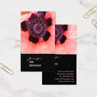 Cartão De Visitas Papoila cor-de-rosa, fotografia macro