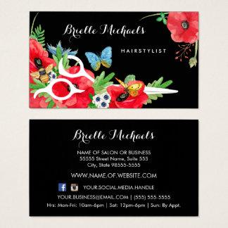 Cartão De Visitas Papoila vermelha do Hairstylist bonito floral com