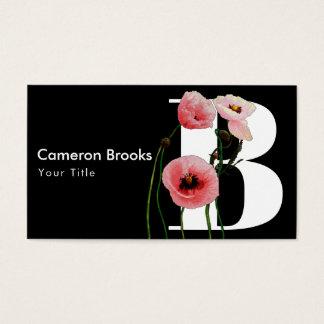 Cartão De Visitas Papoilas cor-de-rosa & iniciais
