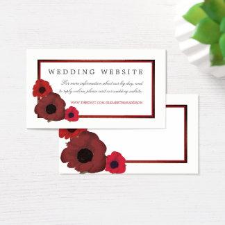 Cartão De Visitas Papoilas e Web site vermelhos do casamento de