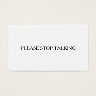 Cartão De Visitas Pare por favor a fala introvertida a engraçado