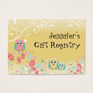 Cartão De Visitas Parede bonito lunática do nome do bebê das corujas