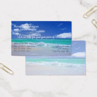 Cartão De Visitas Parte dos bens imobiliários de ondas da praia do