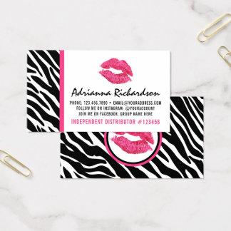 Cartão De Visitas Parte traseira da planície do beijo do rosa da