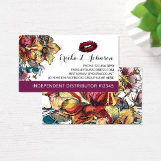 Cartão De Visitas Parte traseira floral moderna da planície do beijo
