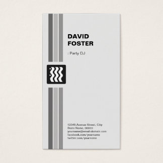 Cartão De Visitas Partido DJ - Branco preto moderno