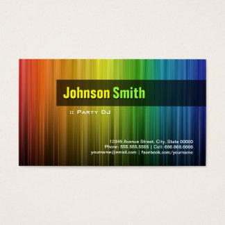 Cartão De Visitas Partido DJ - Cores à moda do arco-íris