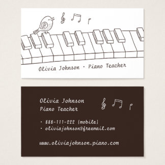 Cartão De Visitas Pássaro do canto no professor de piano da música