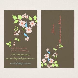 Cartão De Visitas Pássaros azuis + fundo geometic da cor dos anéis