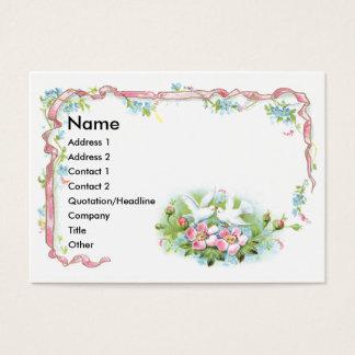 Cartão De Visitas Pássaros brancos, fita cor-de-rosa & rosas