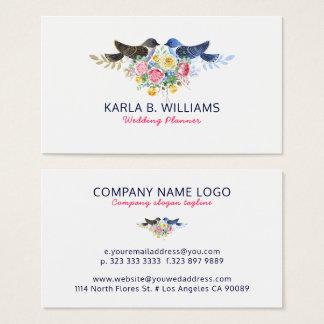 Cartão De Visitas Pássaros coloridos do buquê & do amor das flores