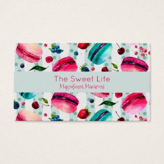 Cartão De Visitas Pastelaria francesa de Macarons com bagas e