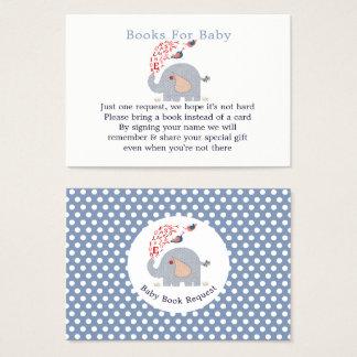 Cartão De Visitas Pedido azul bonito do livro do chá de fraldas do