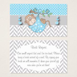 Cartão De Visitas Pedido azul, branco e cinzento do livro do macaco