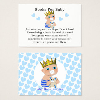 Cartão De Visitas Pedido azul do livro do chá do príncipe bebé dos