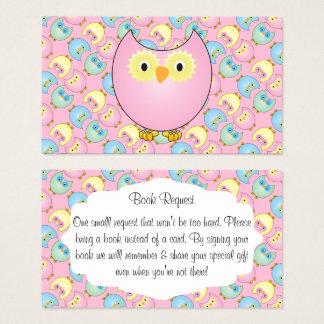 Cartão De Visitas Pedido bonito do livro do bebê da coruja do rosa