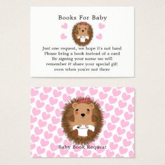 Cartão De Visitas Pedido bonito do livro do chá de fraldas do ouriço