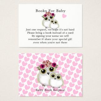 Cartão De Visitas Pedido bonito do livro do chá do bebé da coruja do