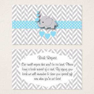 Cartão De Visitas Pedido cinzento branco azul do livro do chá de