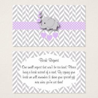 Cartão De Visitas Pedido cinzento roxo do livro do chá de fraldas do