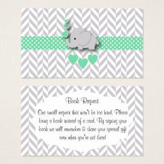 Cartão De Visitas Pedido cinzento verde do livro do chá de fraldas