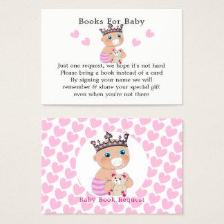 Cartão De Visitas Pedido cor-de-rosa do livro da princesa chá de