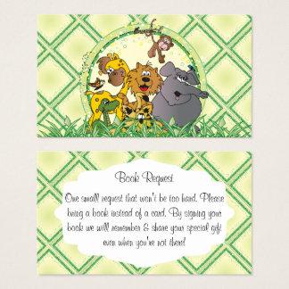 Cartão De Visitas Pedido do livro do chá de fraldas dos animais da