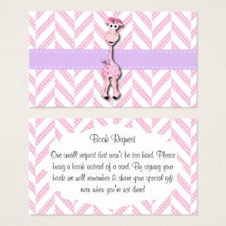 Cartão De Visitas Pedido do livro do chá do bebé do girafa do rosa