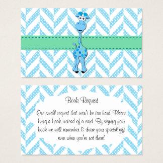 Cartão De Visitas Pedido do livro do chá do bebé do girafa dos azuis