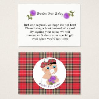 Cartão De Visitas Pedido escocês dos livros do chá de fraldas do