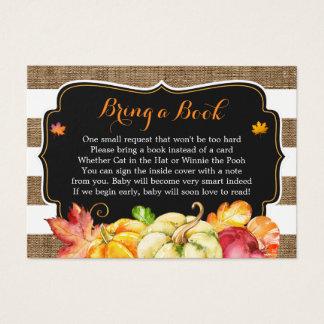 Cartão De Visitas Pedido rústico do livro do chá de fraldas de