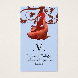 Cartão De Visitas Peixes de combate Siamese vermelhos de Betta