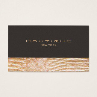 Cartão De Visitas Pele de cobra do ouro e boutique da forma da