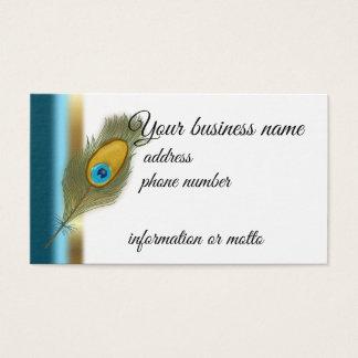 Cartão De Visitas Pena do pavão com faixa marginal do azul e do ouro
