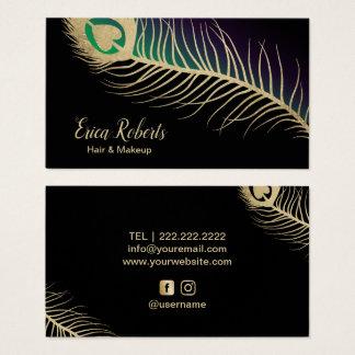 Cartão De Visitas Pena do pavão do ouro do cabeleireiro do