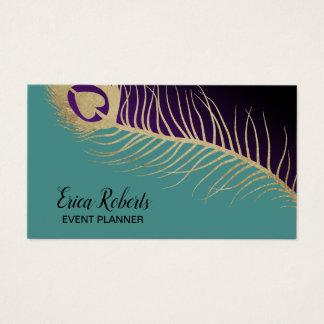 Cartão De Visitas Pena moderna do pavão do ouro do planejador de