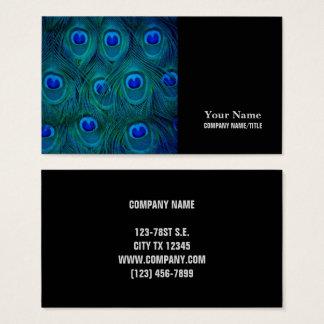 Cartão De Visitas Pena parisiense do pavão do verde da cerceta do
