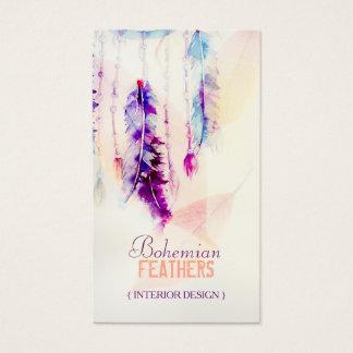 Cartão De Visitas Penas de Dreamcatcher da aguarela de Boho