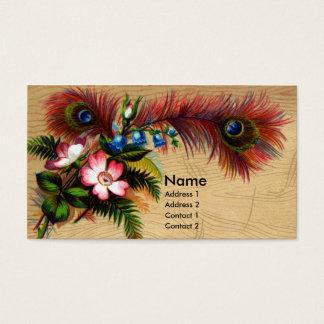 Cartão De Visitas Penas, flores e samambaias